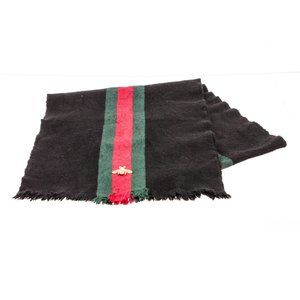 Gucci Black Web Wool Cashmere Bee Scarf